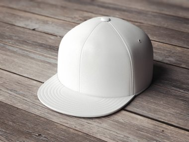 White snapback on the wooden floor. 3d rendering