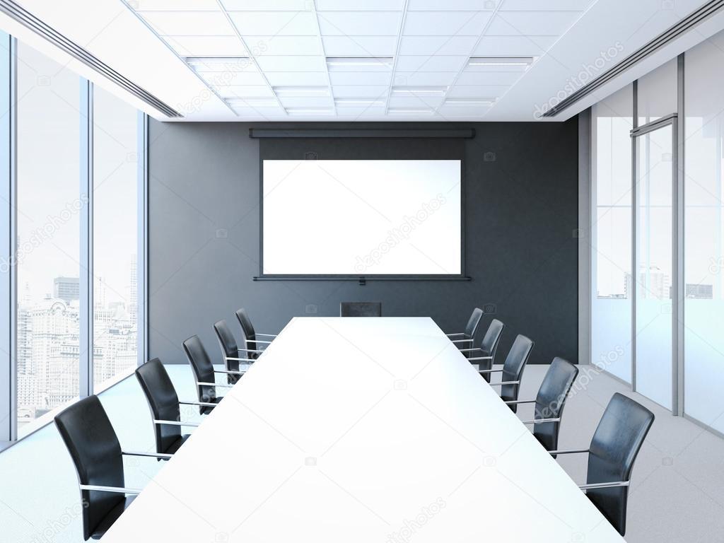 Conferentiezaal met witte tuinset zwart d rendering u stockfoto