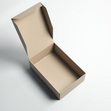Opened cardboard box. 3d rendering