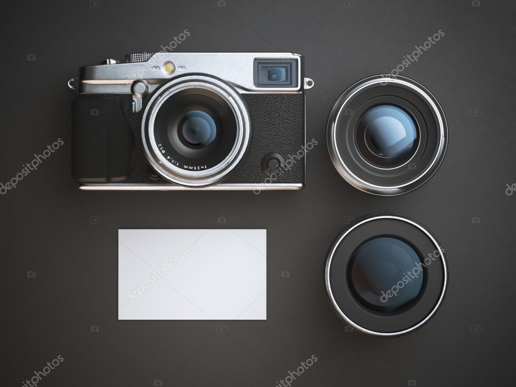 Blank business card with camera and two lenses 3d rendering stock blank business card with camera and two lenses 3d rendering stock photo colourmoves