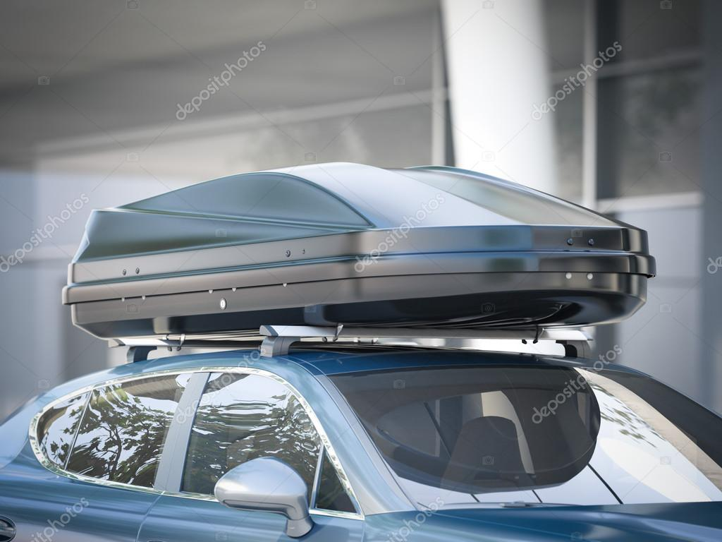 voiture moderne pour voyager avec un porte bagages de toit rendu 3d photographie ekostsov. Black Bedroom Furniture Sets. Home Design Ideas