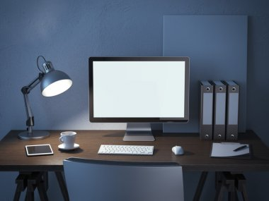 Place of work with computer monitor at night. 3d render stock vector