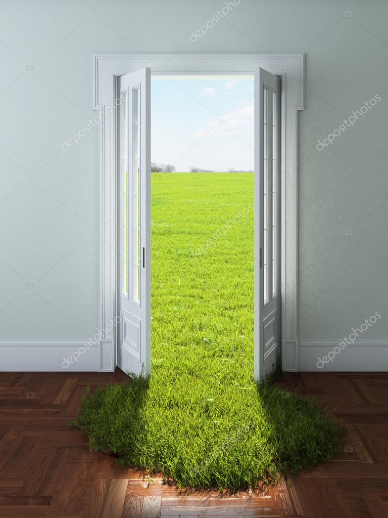 Door with bright green grass