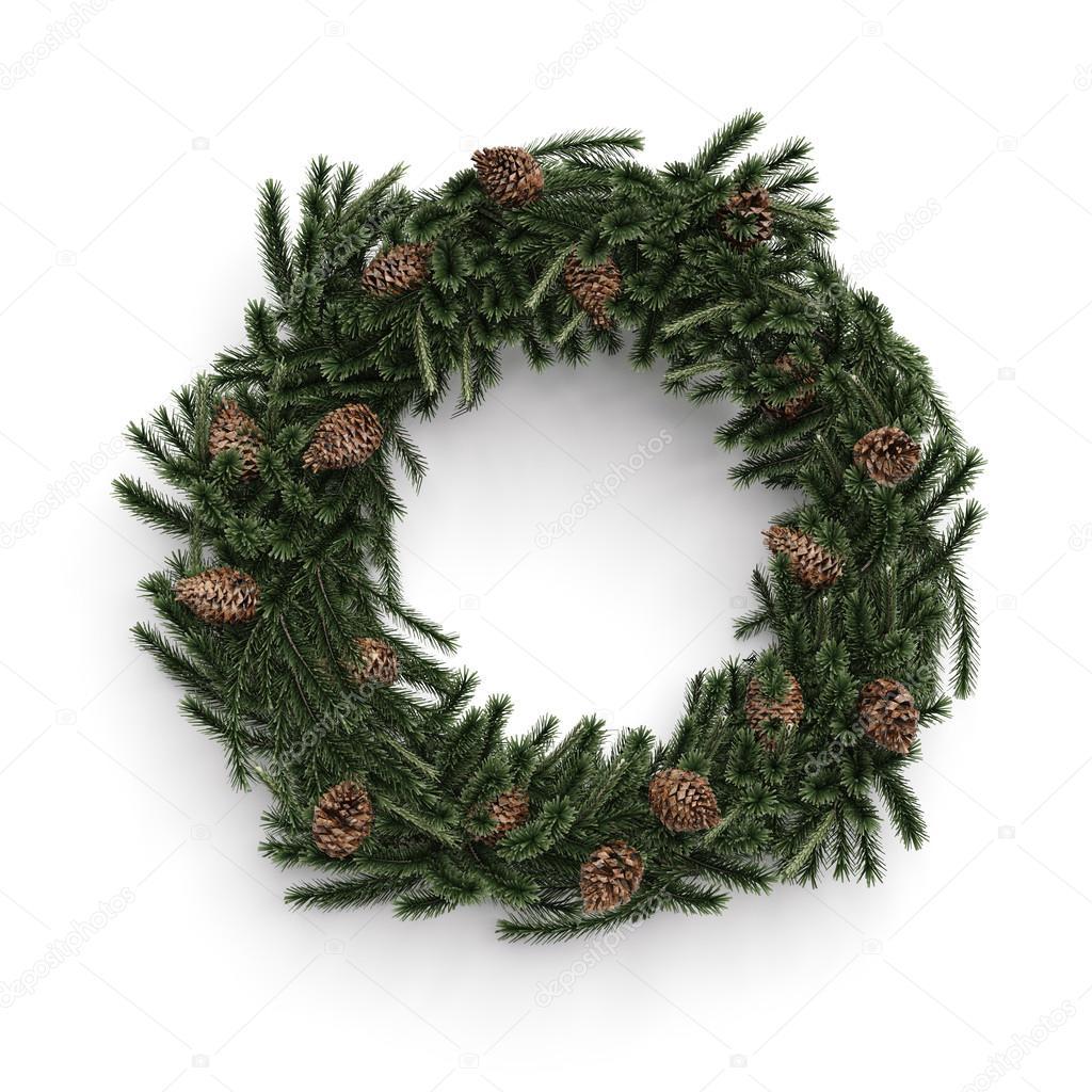 Christmas decorative wreath with cones