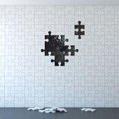 Puzzle bílá stěna bez kusů
