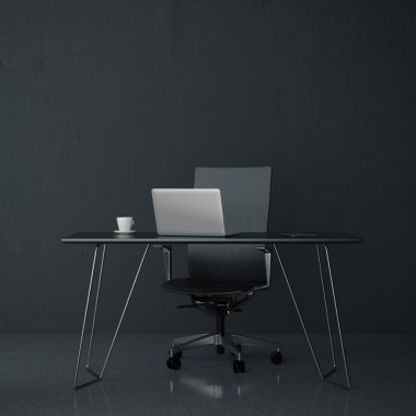 Modern workplace in the office with black wall