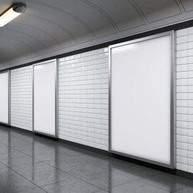 vertical billboards on metro station