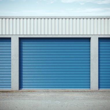 Storage units with blue doors. 3d rendering stock vector