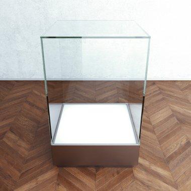 Empty glass showcase for exhibit. 3d rendering