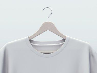 White t-shirt template on hanger