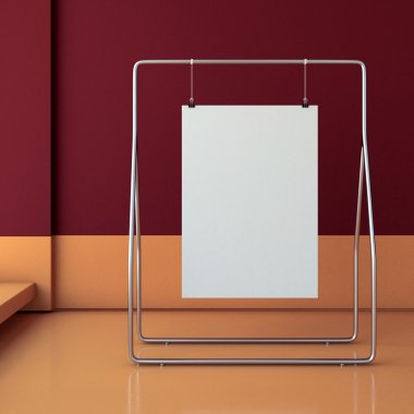 Blank poster hanging . 3d rendering