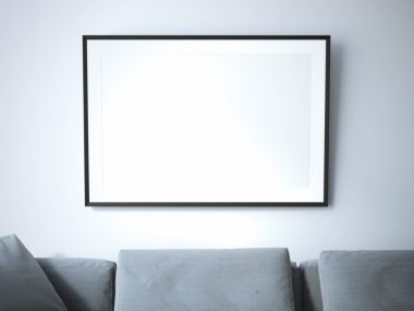 Blank poster in living room. 3d rendering