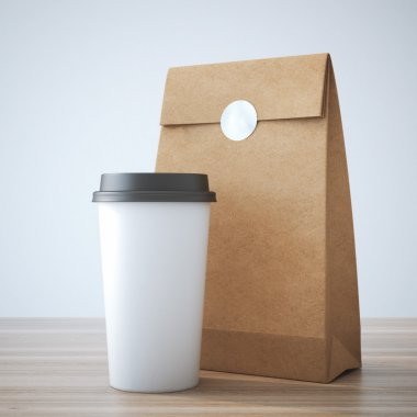 Coffe cup and paper bag