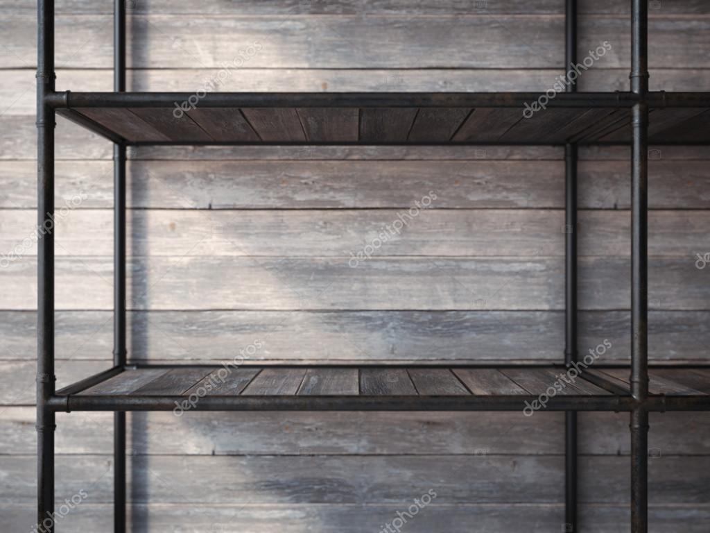 Estantes de metal negro vacío. Render 3D — Fotos de Stock © ekostsov ...