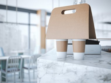 Coffee Holder on the table . 3d rendering