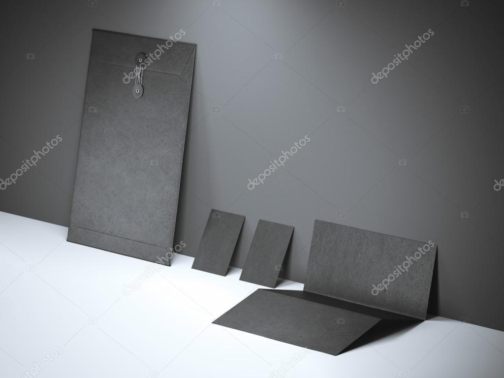 Black branding mockup near the wall