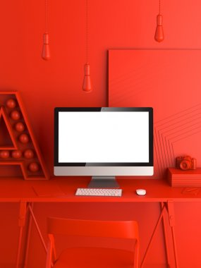 Abstract red modern workspace. 3d rendering