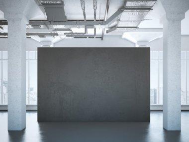 Black poster in a modern loft. 3d rendering