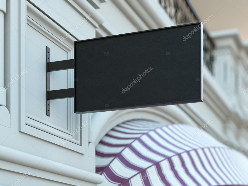 Square black signboard on the old building. 3d rendering