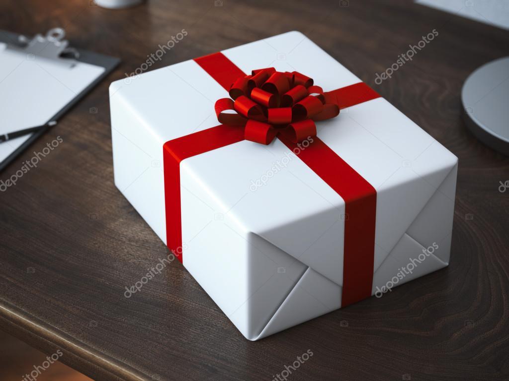 Paquete de regalo blanco con lazo rojo foto de stock - Paquetes de regalo ...