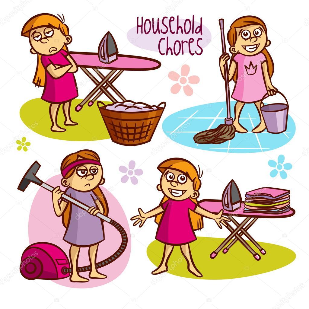 household chores kids vector illustrations stock vector