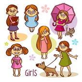 Aranyos lány. A gyerekek. Vektor illusztrációk