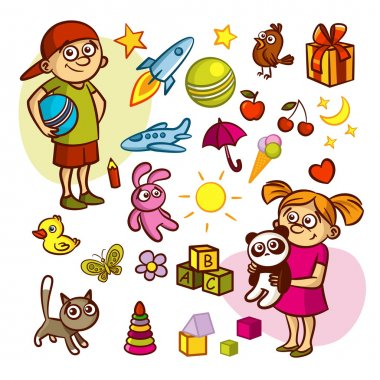 stock vector collection of cute children kids animals toys objects