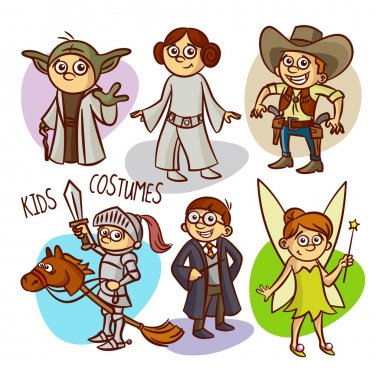 Character Kids Costumes. Vector Illustration