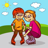 Matka a dítě na kolečkových bruslích