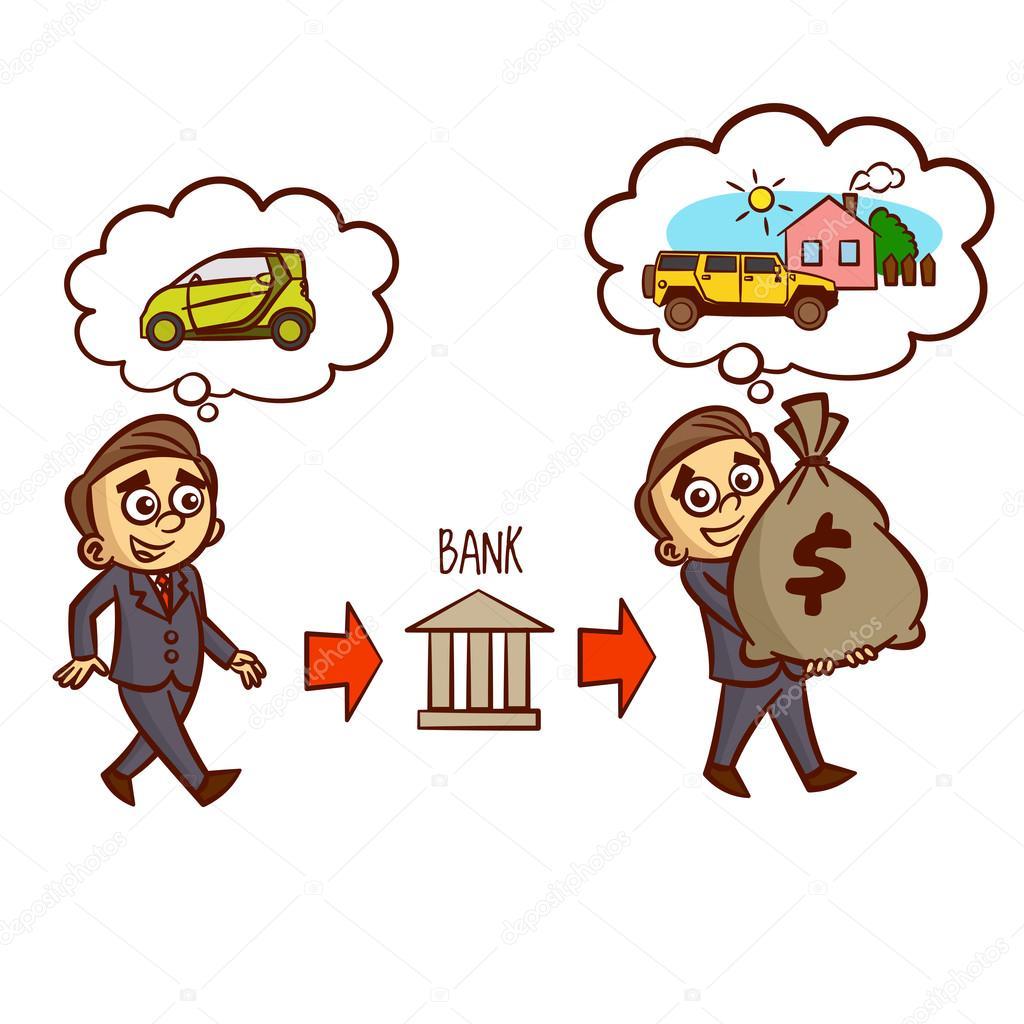 Geschäftsmann bekommt eine Bank Hypothek — Stockvektor © ichbinsam ...