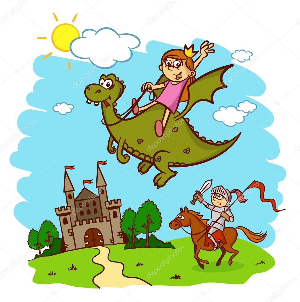Princesse chevalier cheval cavalier dragon ch teau conte de f es image vectorielle - Princesse cheval ...