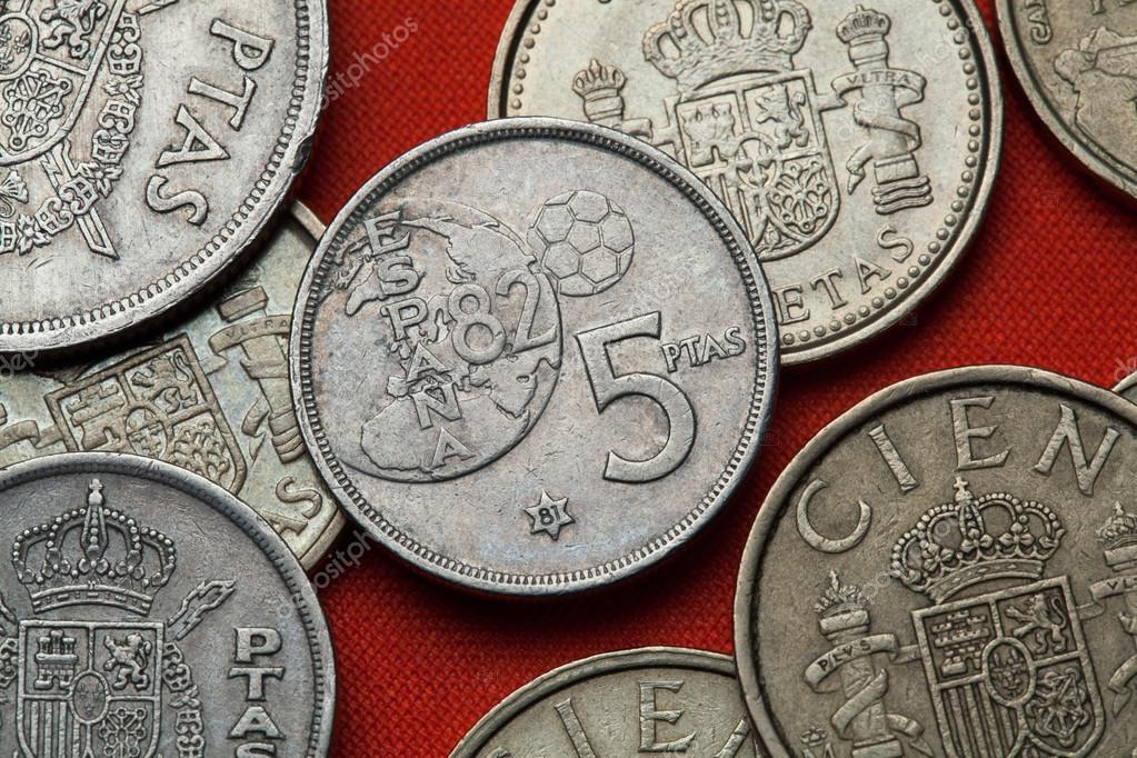 Münzen Von Spanien Weltmeisterschaft 1982 Stockfoto Wrangel