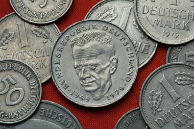 Coins of Germany close-up