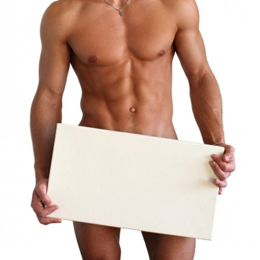 Naked Muscular Man Covering with Board