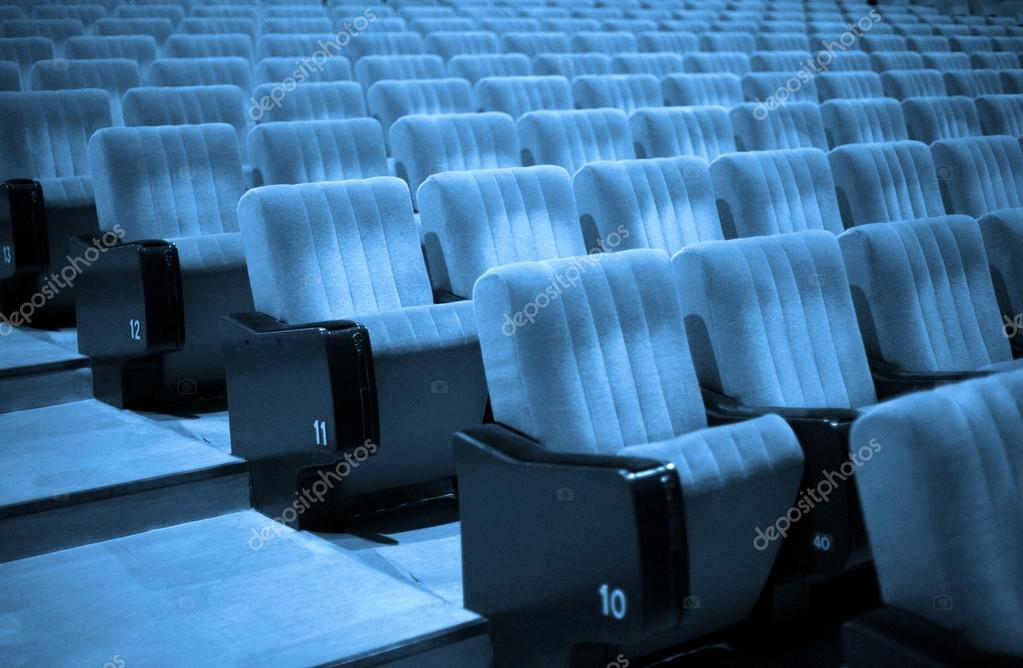 Empty chairs at cinema or theater. Blue Tone stock vector