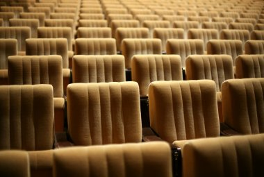 Empty chairs at cinema or theatre stock vector