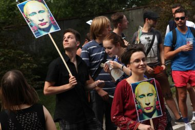 Czech homosexual activists protest