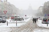 Husté sněžení v Praze