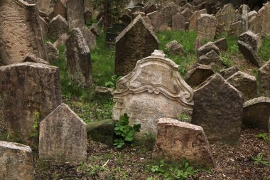 Abandoned tombstones at the Old Jewish Cemetery in Prague, Czech Republic. stock vector