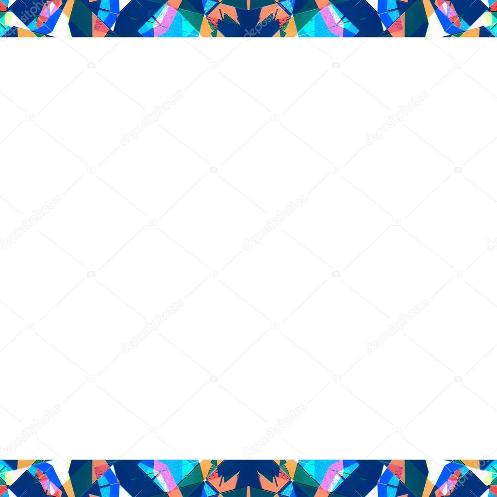 Marco blanco con Sharp Collage Multicolor geométrico patrón Bord ...
