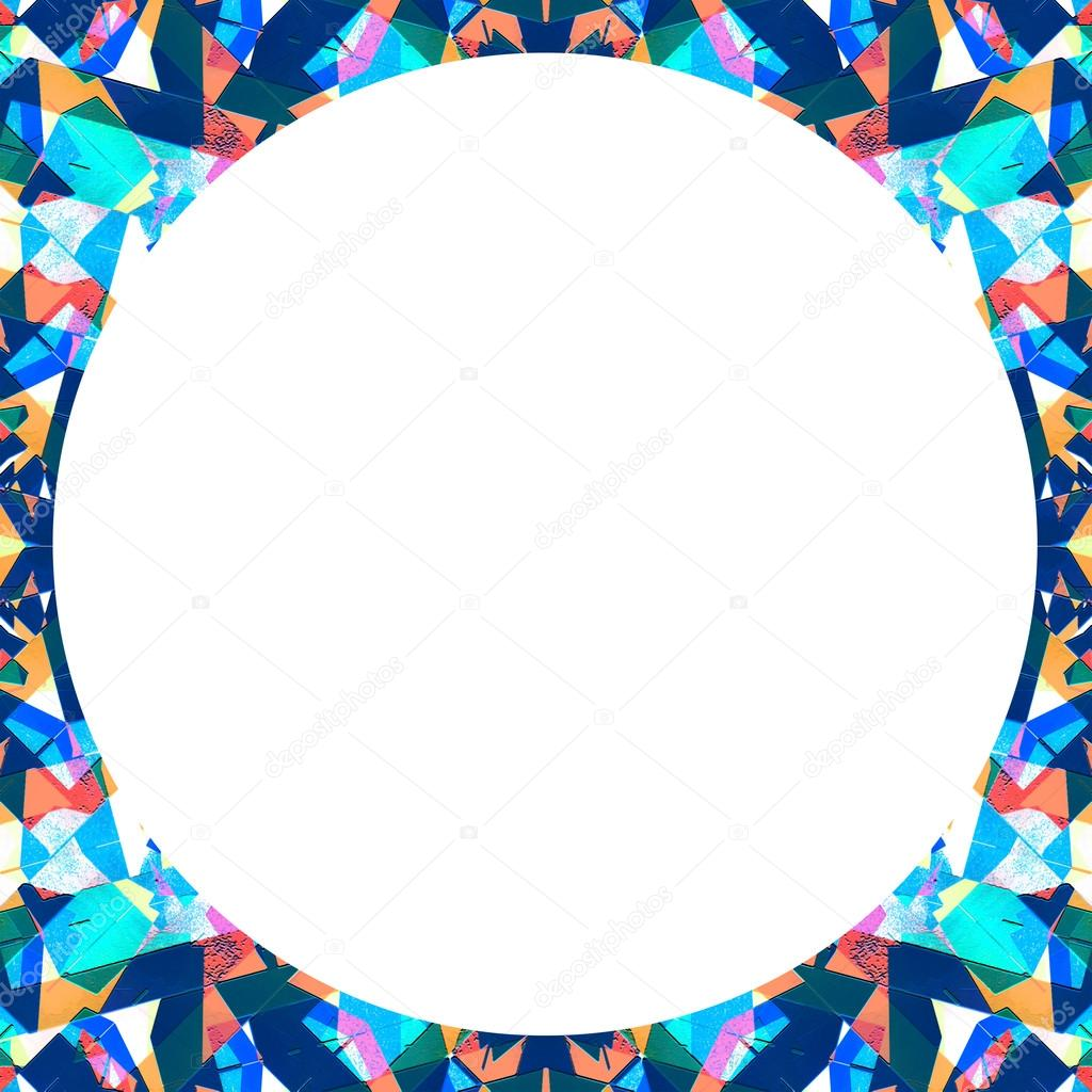 Marco blanco con bordes de patrón Circular Collage Multicolor — Foto ...