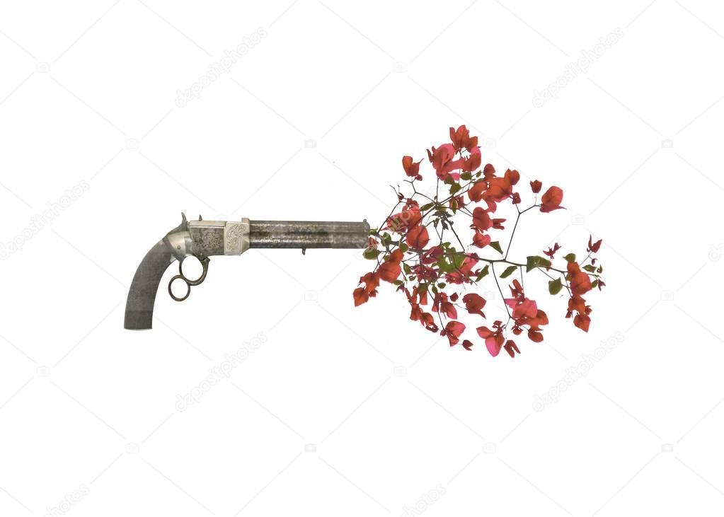 pistola tiro flores � fotos de stock 169 danflcreativo