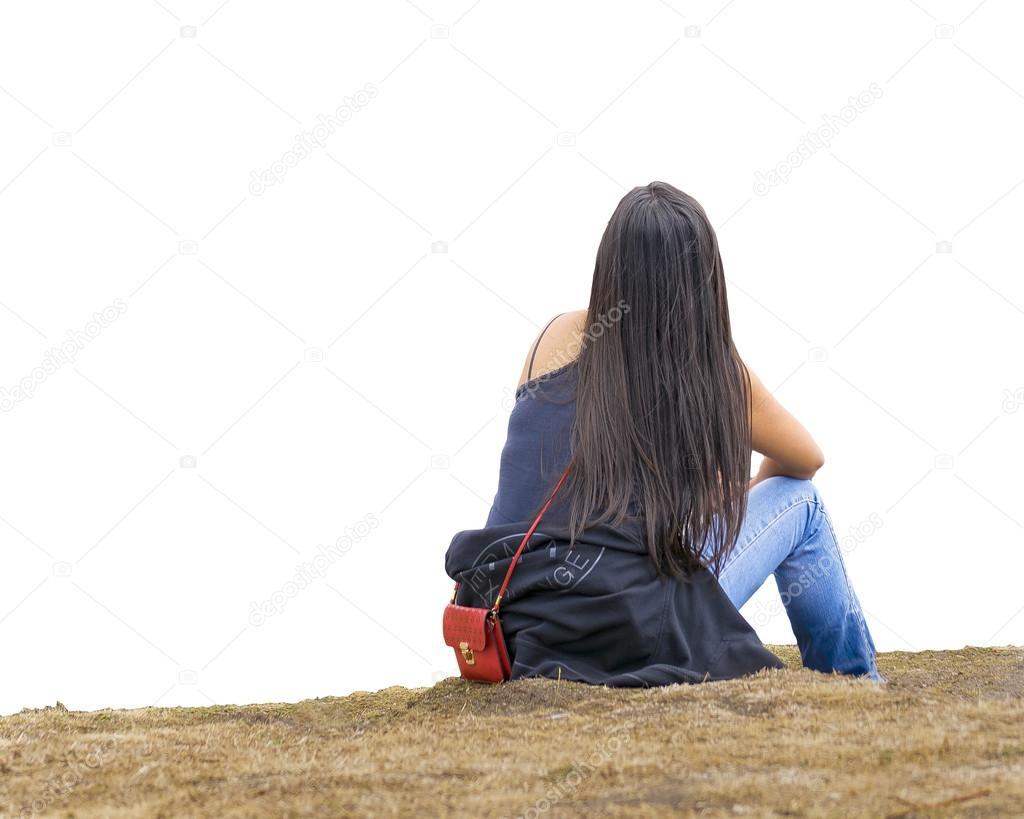 çimenlerin üzerinde Oturan Kadın Arkadan Görünüm Stok Foto