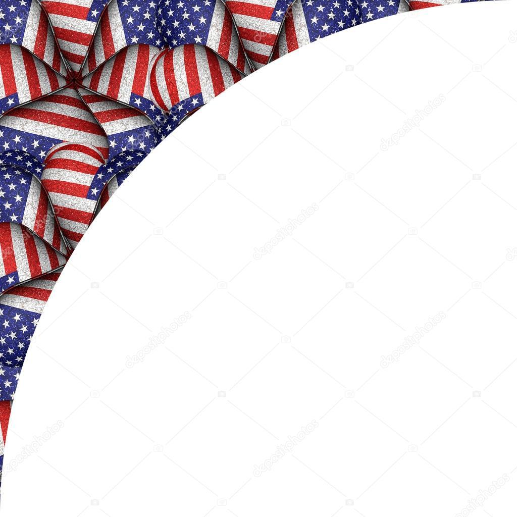 Fondo blanco con bordes de patrón de bandera de Estados Unidos ...