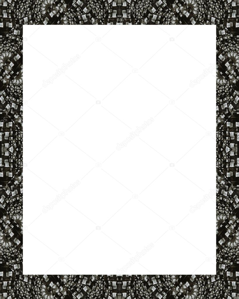 Weißer Rahmenhintergrund Mit Verzierten Schwarzen Und Weißen Mosaik Design  Grenzen U2014 Foto Von DanFLCreativo