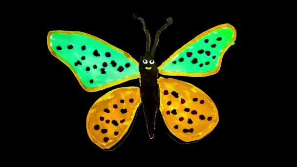 Sketchy színes egyszerű hurok animáció boldog kifejezés pillangó elszigetelt