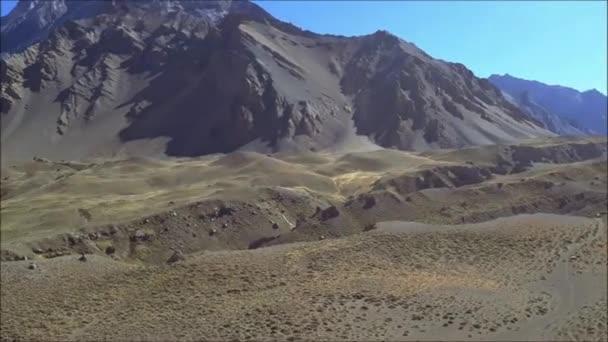 Panning andes rocky landscape environment, aconcagua park, mendoza, argentina