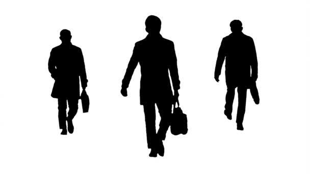 Grafikus sziluettmunkások aktatáskával sétáló, hurkolt animációval