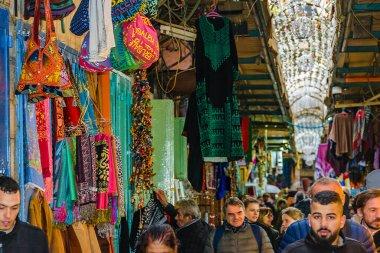JERUSALEM, ISRAEL, DECEMBER - 2019 - Crowded commercial street at old jerusalem city,