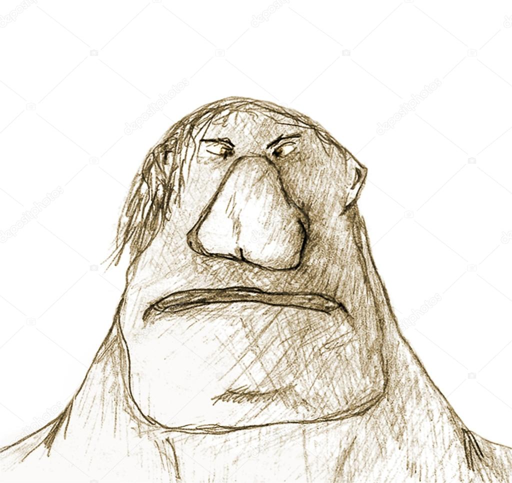 Pencil drawing technique raster illustration of big fat man with angry expression in white background